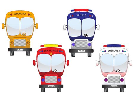 city vehicles set against white background photo