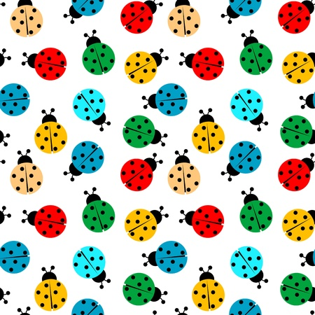 small insect: ladybugs in colors seamless pattern, abstract texture Stock Photo