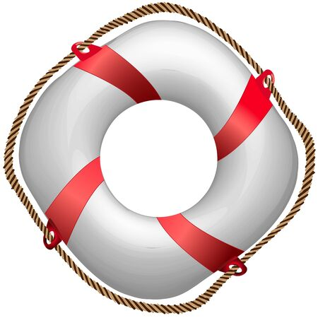 danger to life: twisted red life buoy, abstract vector art illustration