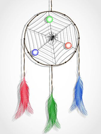 dream catcher against white background, abstract vector art illustration Vector