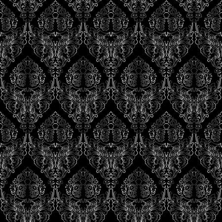 Damassés texture homogène, texture abstraite en niveaux de gris ; Vector art illustration Banque d'images - 10081499