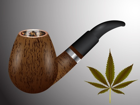 tobacco pipe: wooden smoking pipe and cannabis leaf, abstract vector art illustration; image contains transparency Illustration