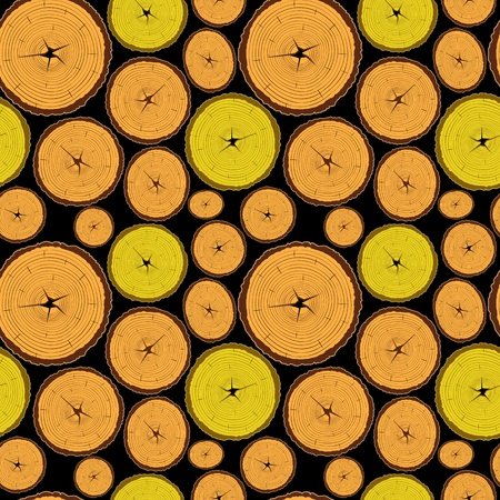 sliced tree: woode seamless pattern, abstract texture; vector art illustration; image contains transparency