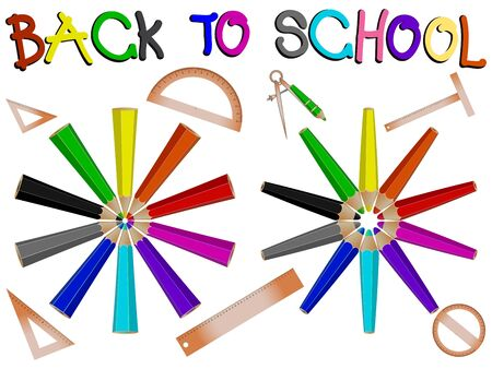 pencils school banner against white background, abstract vector art illustration Çizim