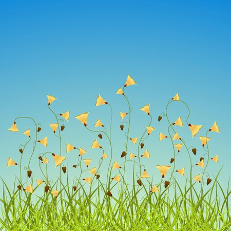 spring flowers field, abstract vector art illustration; image contains transparency