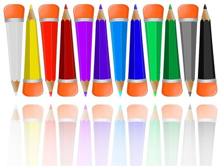 reflected pencils collection with rubbers against white background, abstract vector art illustration; image contains opacity mask Vector