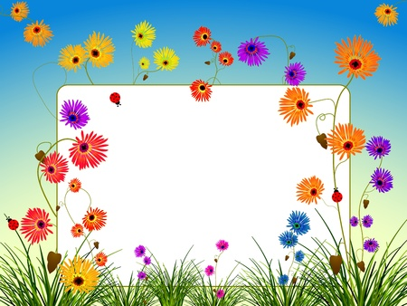 empty billboard with flowers and grass, abstract vector art illustration