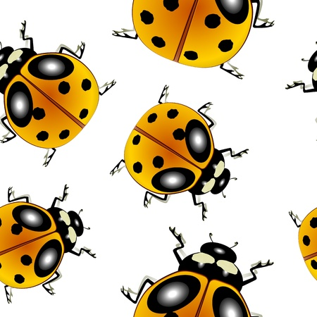 ladybugs pattern, abstract seamless texture; vector art illustration Vector
