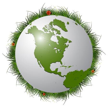 calentamiento global: planeta tierra, pasto y mariquitas fondo blanco; Ilustraci�n de arte abstracto de vectores; imagen contiene transparencia y m�scaras de recorte