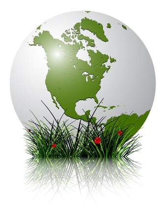 earth globe and grass reflected against white background; abstract vector art illustration; image contains transparency and clipping masks