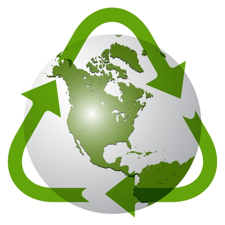 north arrow: recycle earth globe against white background; abstract vector art illustration; image contains transparency