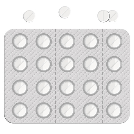 poison bottle: pillole in un blister e isolato su sfondo bianco, astratto illustrazione arte, immagine contiene una trasparenza