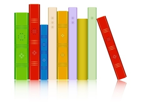 reflected: books in a row reflected against white background, abstract art illustration, image contains opacity mask