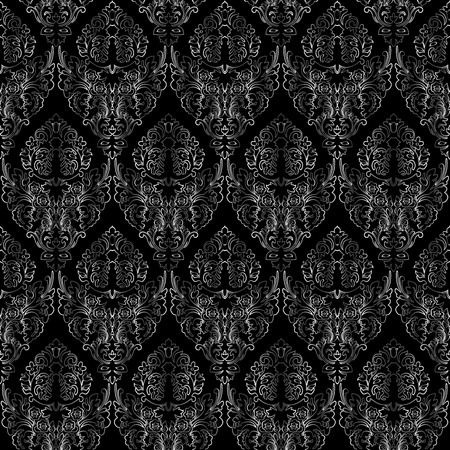 damask seamless texture, abstract grayscale texture; vector art illustration