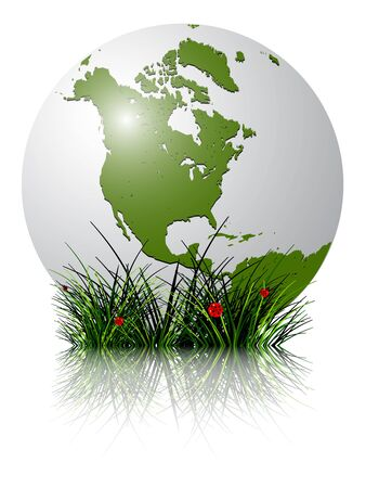 earth globe and grass reflected against white background; abstract vector art illustration; image contains transparency and clipping masks Stock Illustration - 10367176