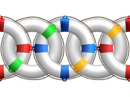 life buoy horizontal pattern, abstract seamless border; vector art illustration Stock Illustration - 10367160