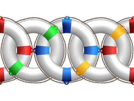 preserver: life buoy horizontal pattern, abstract seamless border; vector art illustration