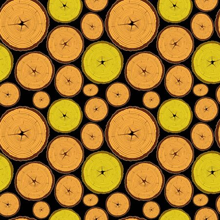 wood log: wood seamless pattern against black background, abstract texture; vector art illustration