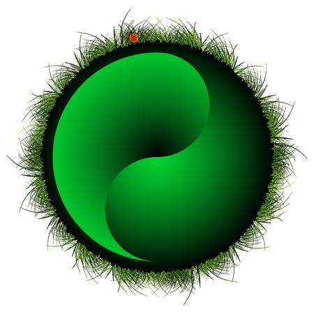 yin yang sphere with grass and ladybug against white background; abstract vector art illustration Vector