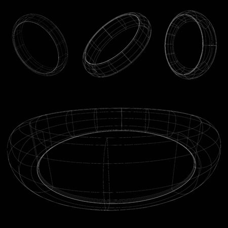 3d wireframe rings, abstract vector art illustration