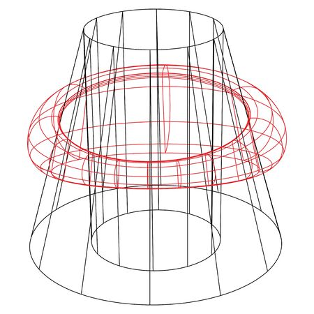 wireframed cone and ring against white background, abstract vector art illustration 向量圖像