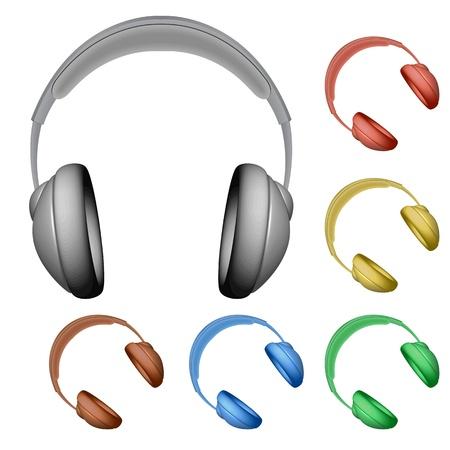head phone: auriculares contra el fondo blanco. Vectores