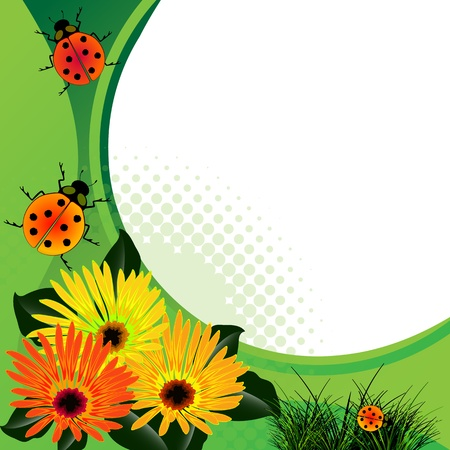 fun grass: ladybugs over abstract floral background.