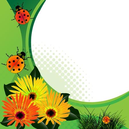 lieveheersbeestjes over abstracte florale achtergrond.