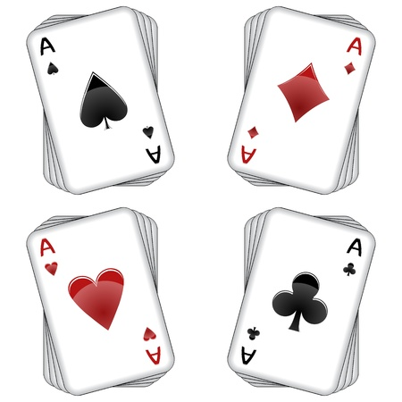 aces playing cards over white background, abstract vector art illustration Illustration