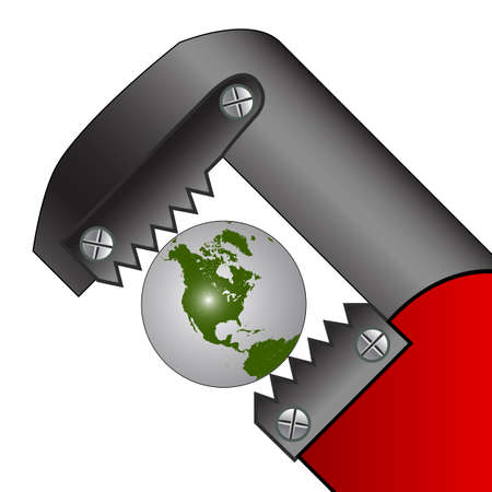 pipe wrench: pressed earth, abstract art illustration