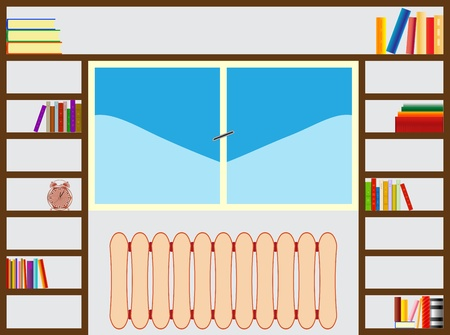 bookshelf around window Stock Vector - 10695916