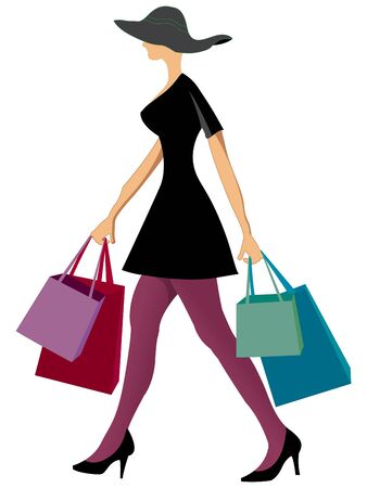 excitation: shopping woman with shopping bags against white background