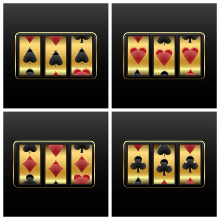 slot machine: playing cards slot machine against white background, abstract vector art illustration