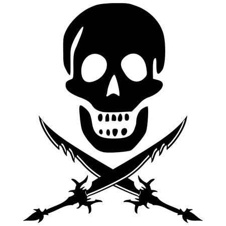piraat skul en zwaarden tegen een witte achtergrond, abstracte vector kunst illustratie