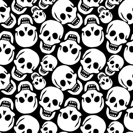 skulls pattern, abstract seamless texture; vector art illustration