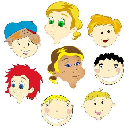 抽象的なベクトル アート イラスト白い背景の子供たちの顔