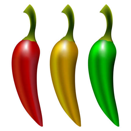 peppers isolated on white background, abstract vector art illustration; image contains gradient mesh Stock Vector - 11465526