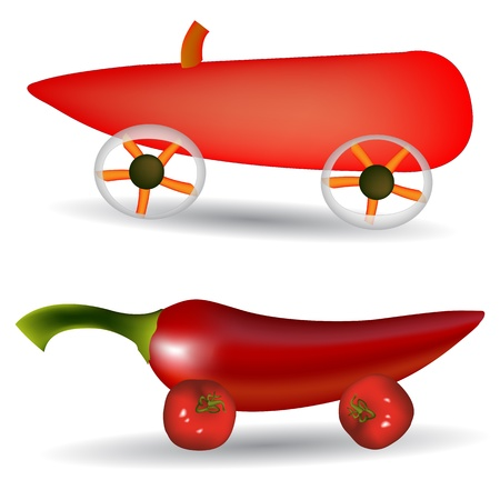 vegetable cars against white background, abstract vector art illustration; image contains gradient mesh and transparency Stock Vector - 11465527