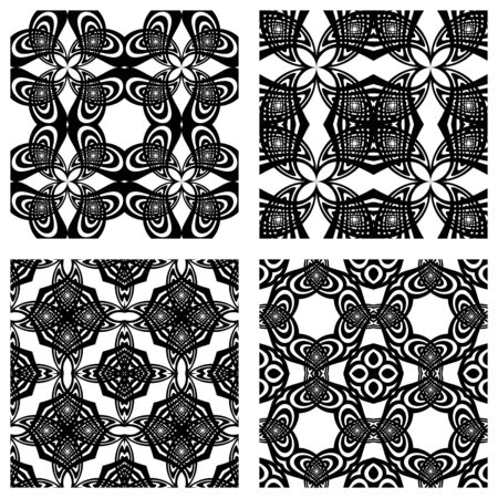 black and white seamless patterns; abstract textures; vector art illustration Vector