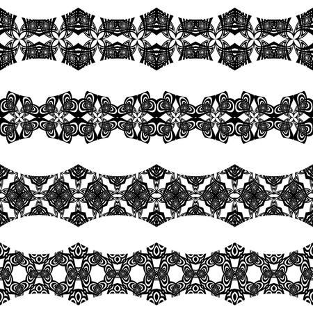 horizontal seamless borders against white background; abstract textures; vector art illustration Ilustração