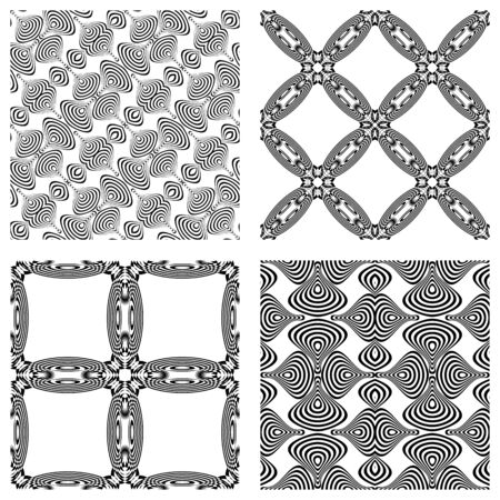 op art monochromatic patterns, abstract seamless textures; vector art illustration Stock Vector - 11465524