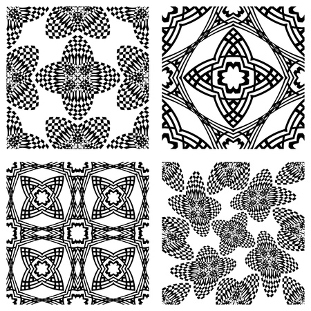 kaleidoscopic: op art monochromatic patterns, abstract seamless textures; vector art illustration