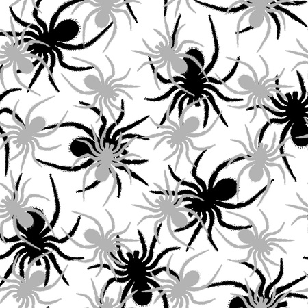spiders pattern, abstract seamless texture; vector art illustration