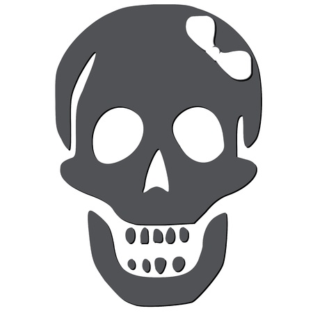 skull with white bow against white background, abstract vector art illustration Vector