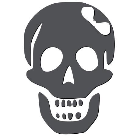 skull with white bow against white background, abstract vector art illustration Illustration