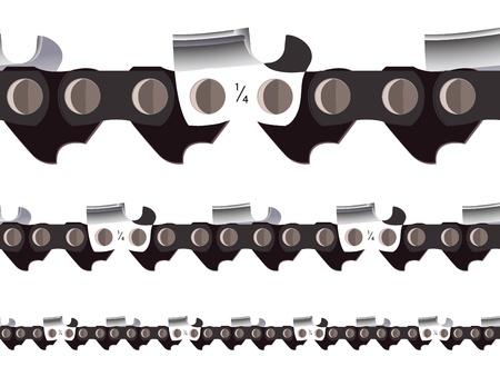 chain saw seamless, abstract horizontal texture; vector art illustration Illustration
