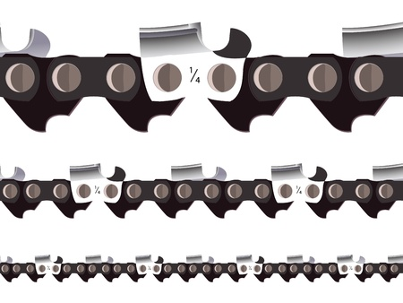 chain saw seamless, abstract horizontal texture; vector art illustration Vectores