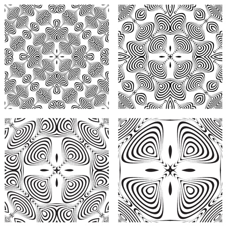 op art monochromatic patterns, abstract seamless textures; vector art illustration