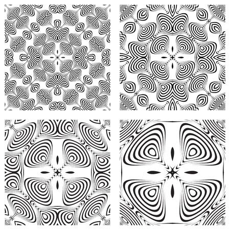 Op Art monochromatische patronen, abstracte naadloze texturen, vector kunst illustratie