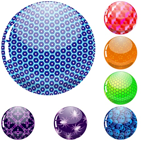 glossy colorful abstract globes with different inner spherical patterns, abstract vector art illustration; image contains transparency Vector